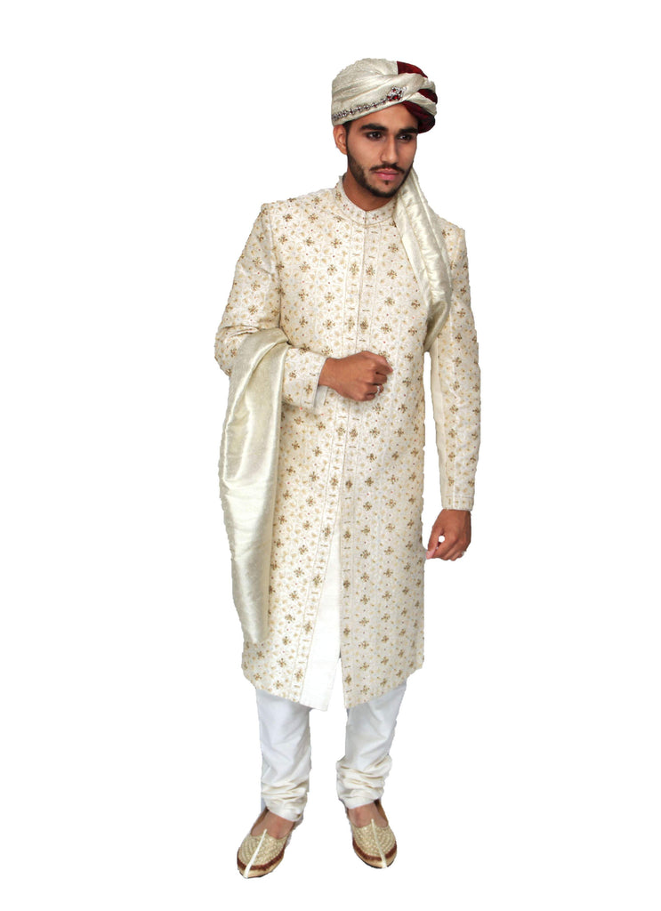 Off-white Hand Embroidered Indian sherwani