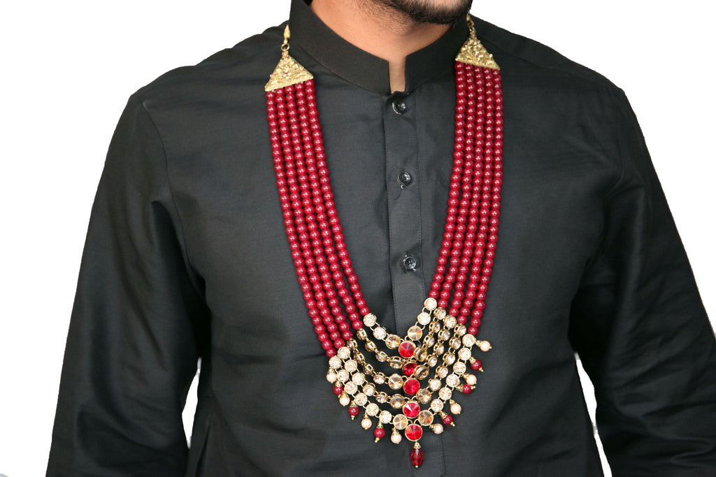 Ruby and Gold Pearl Haar with Gold Gemstone detail Necklace Mala