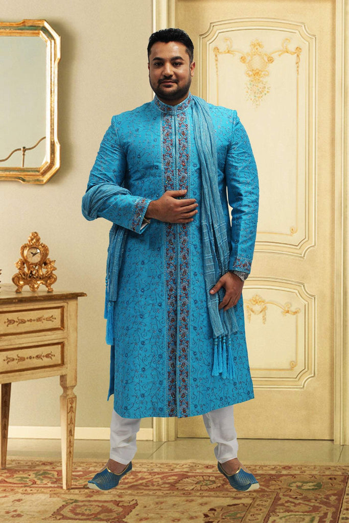 Glossy blue Embroidered sherwani in Raw Silk