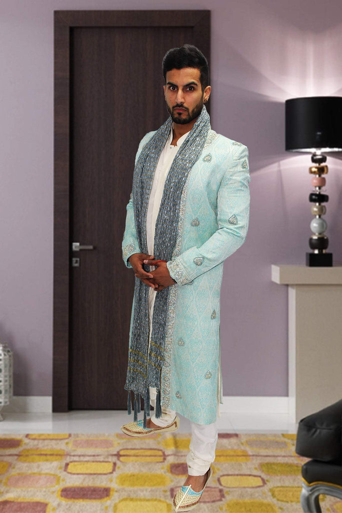 3 Piece Blue Premium Groomsmen Sherwani with Brocade Embroidery