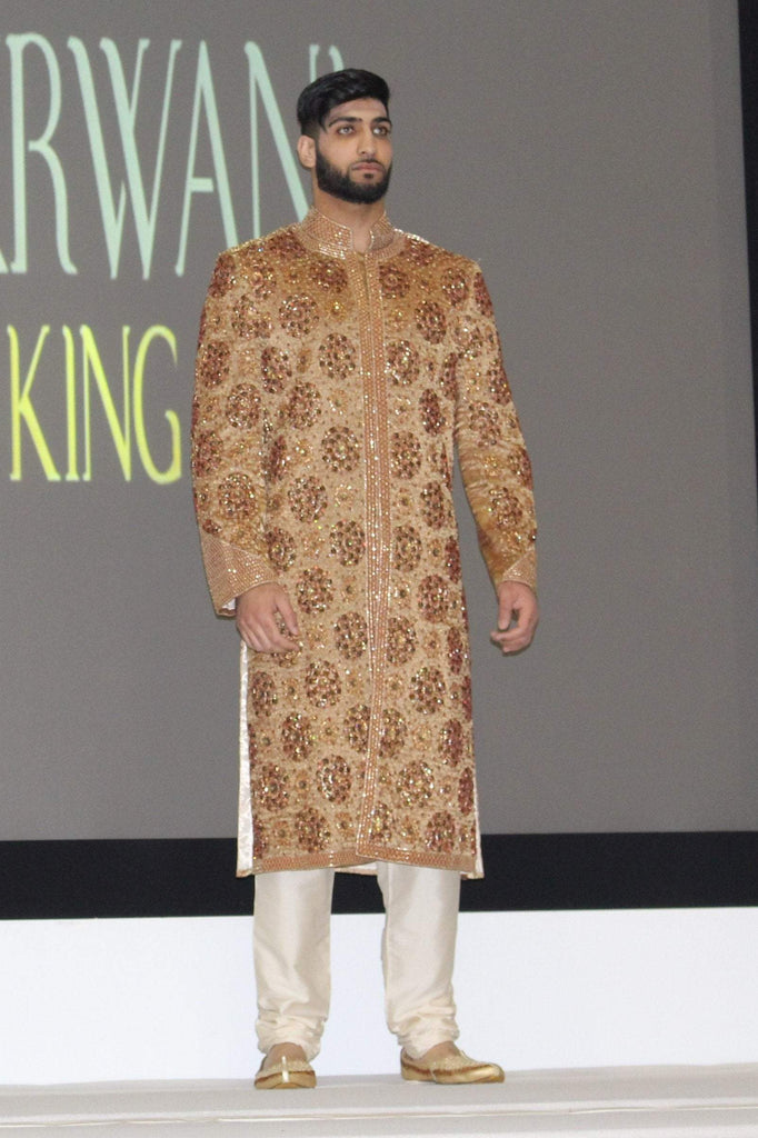 Caramel Gold Sherwani with Rich Stone Roses