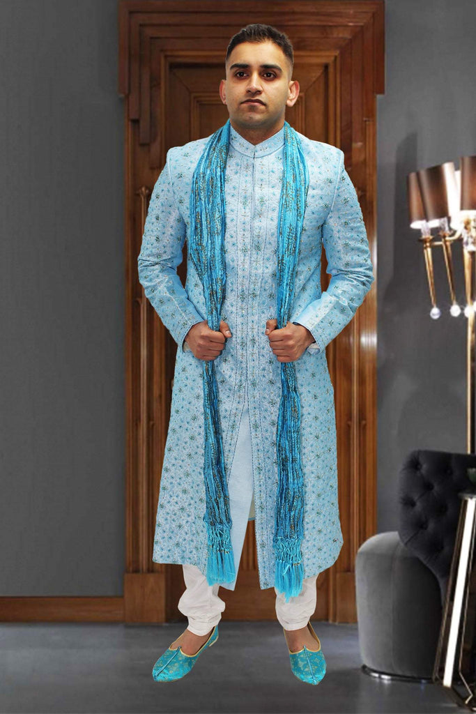 Sky Blue Indian sherwani with Full Embroidery