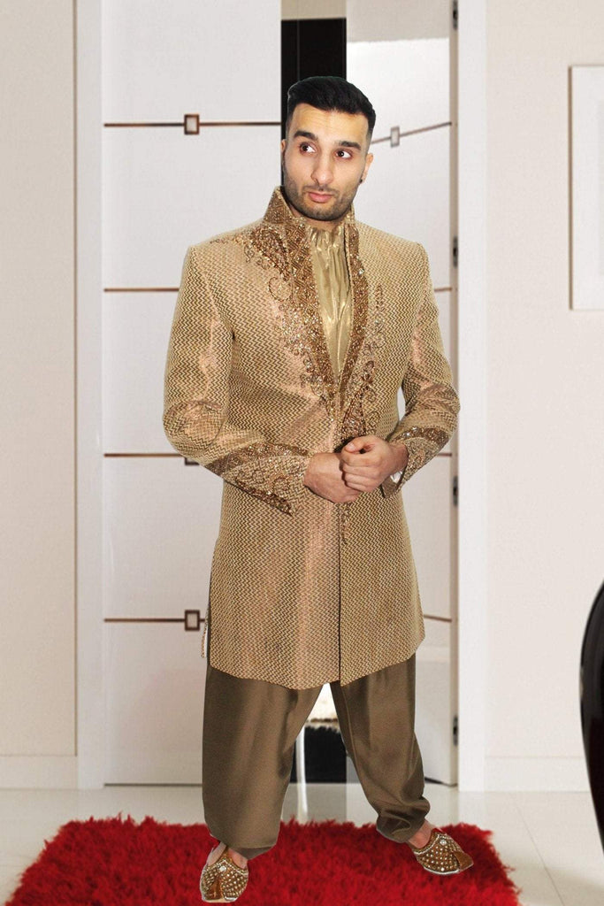 Gold Embroidered Indian Bollywood Sherwani in Raw Silk