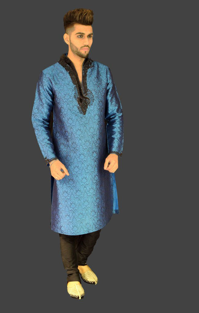 Metallic Blue Brocade Kurta Sherwani with Collar and Chest Embroidery