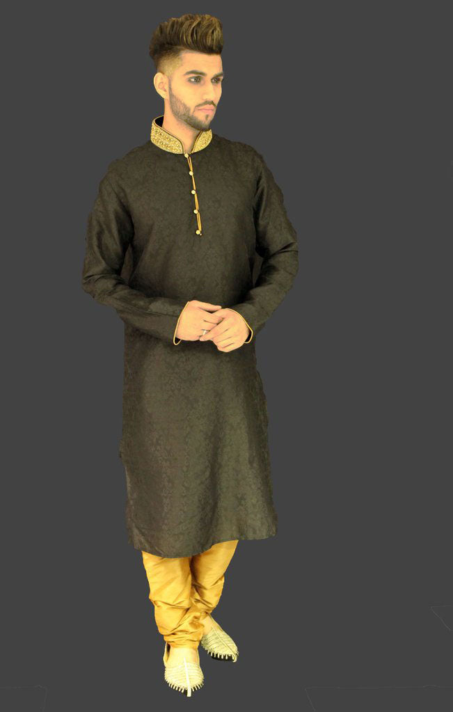 Black Brocade Kurta Sherwani with Gold Collar embellishment