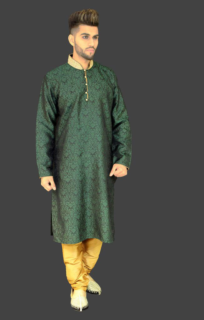 Green Brocade Kurta Sherwani with Gold Collar Detail