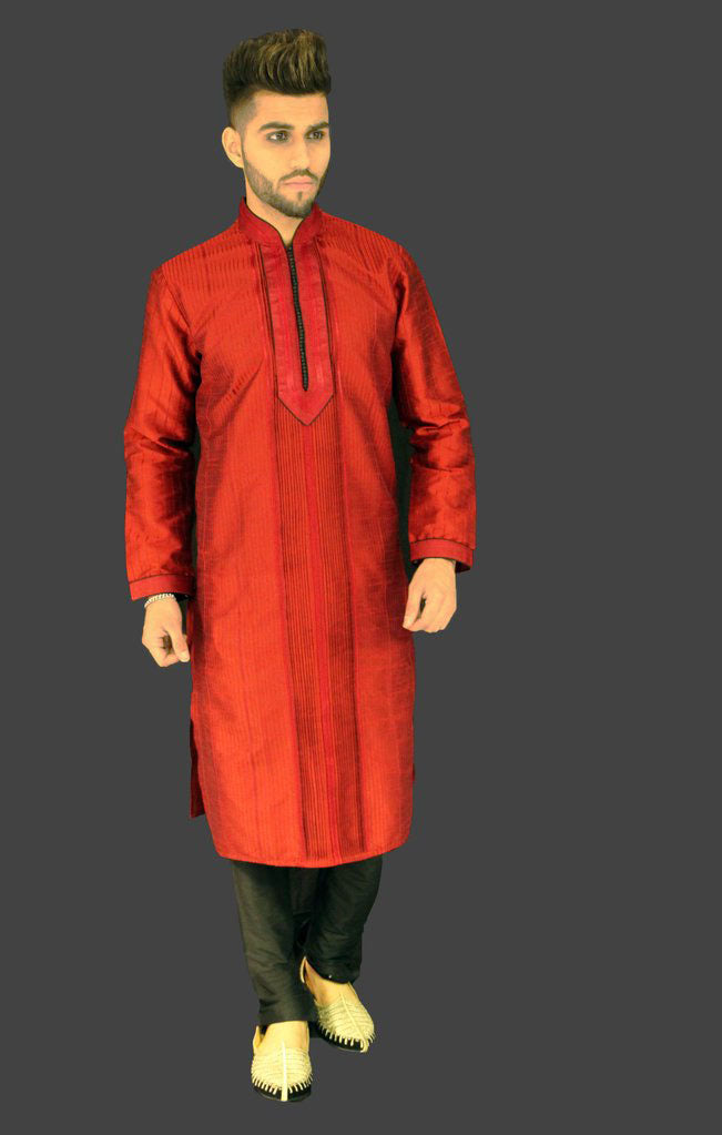 Red Silk Kurta with Black Chest button detail