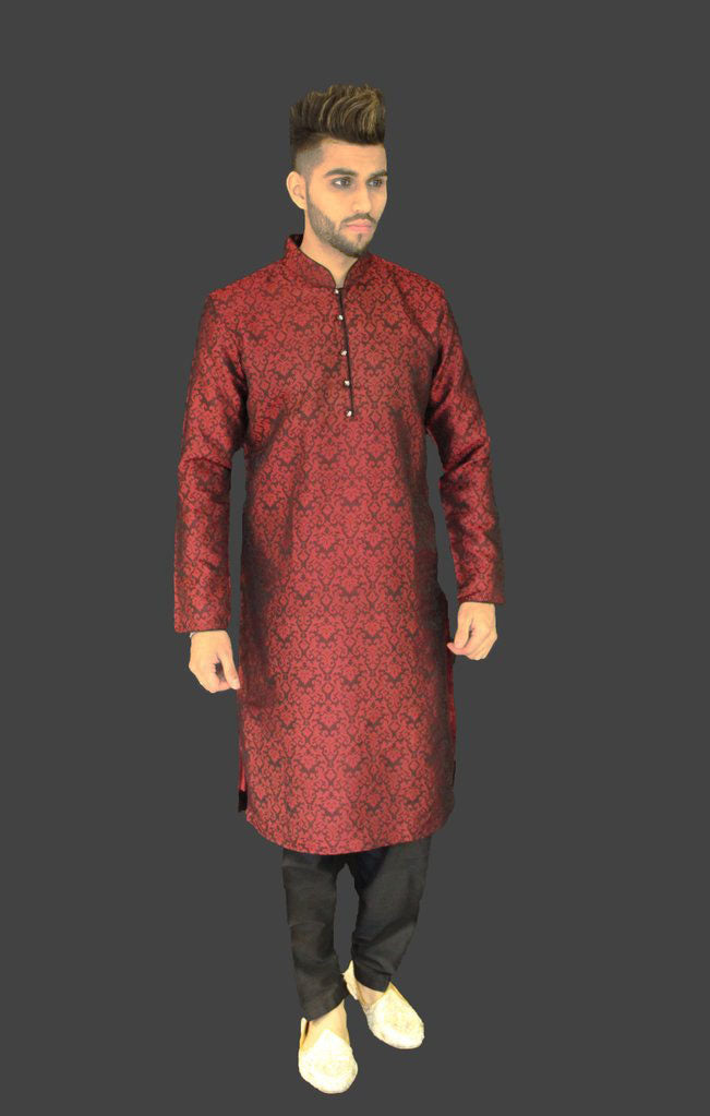 Black and Red Brocade Silk Kurta Sherwani
