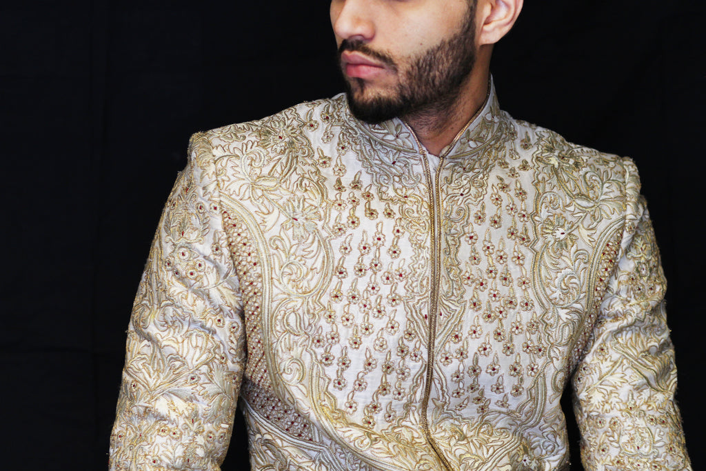Ivory and Gold Embroidered Sherwani with Red and Gold Thread work Embroidery