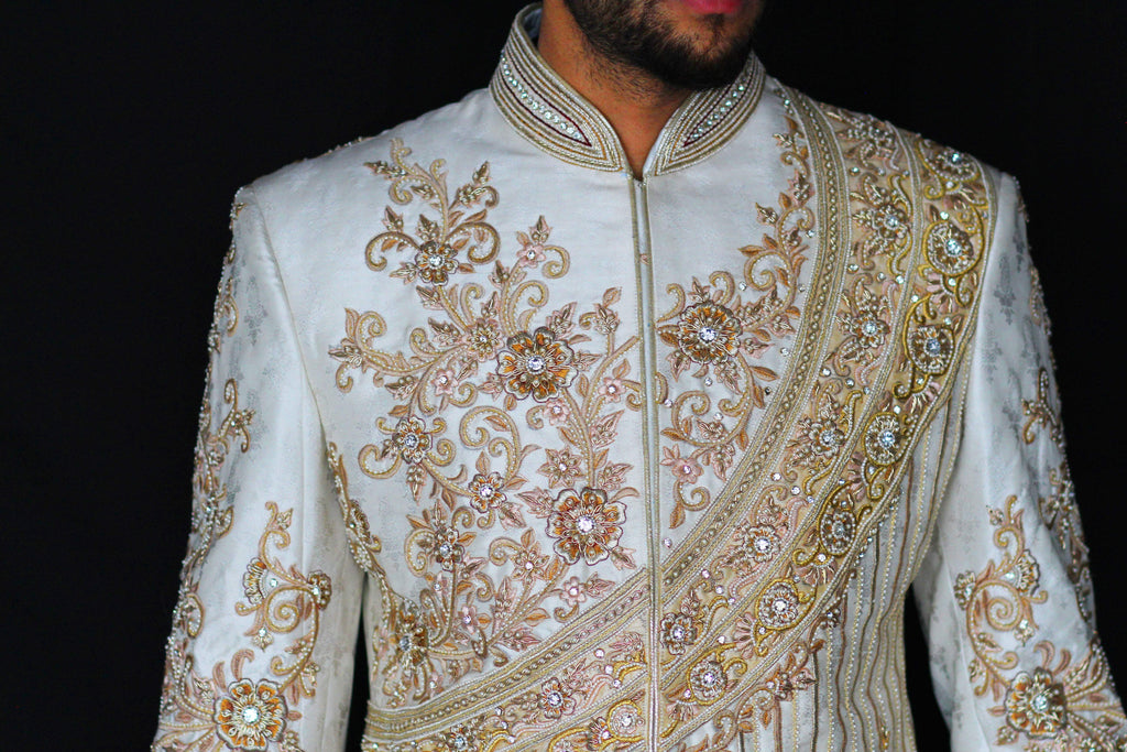 Ivory Gold and Coral Sherwani with Embroidered Chest and Back Detail