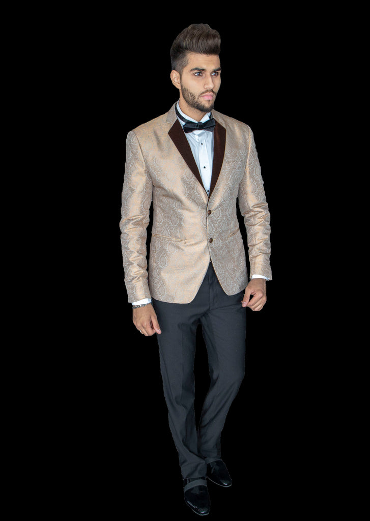 Champagne Gold Brocade Tuxedo Suit