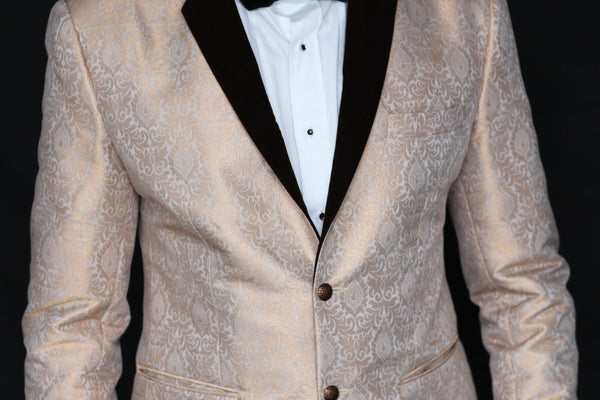 9fb6f68cd02 Champagne Gold Brocade Tuxedo Suit