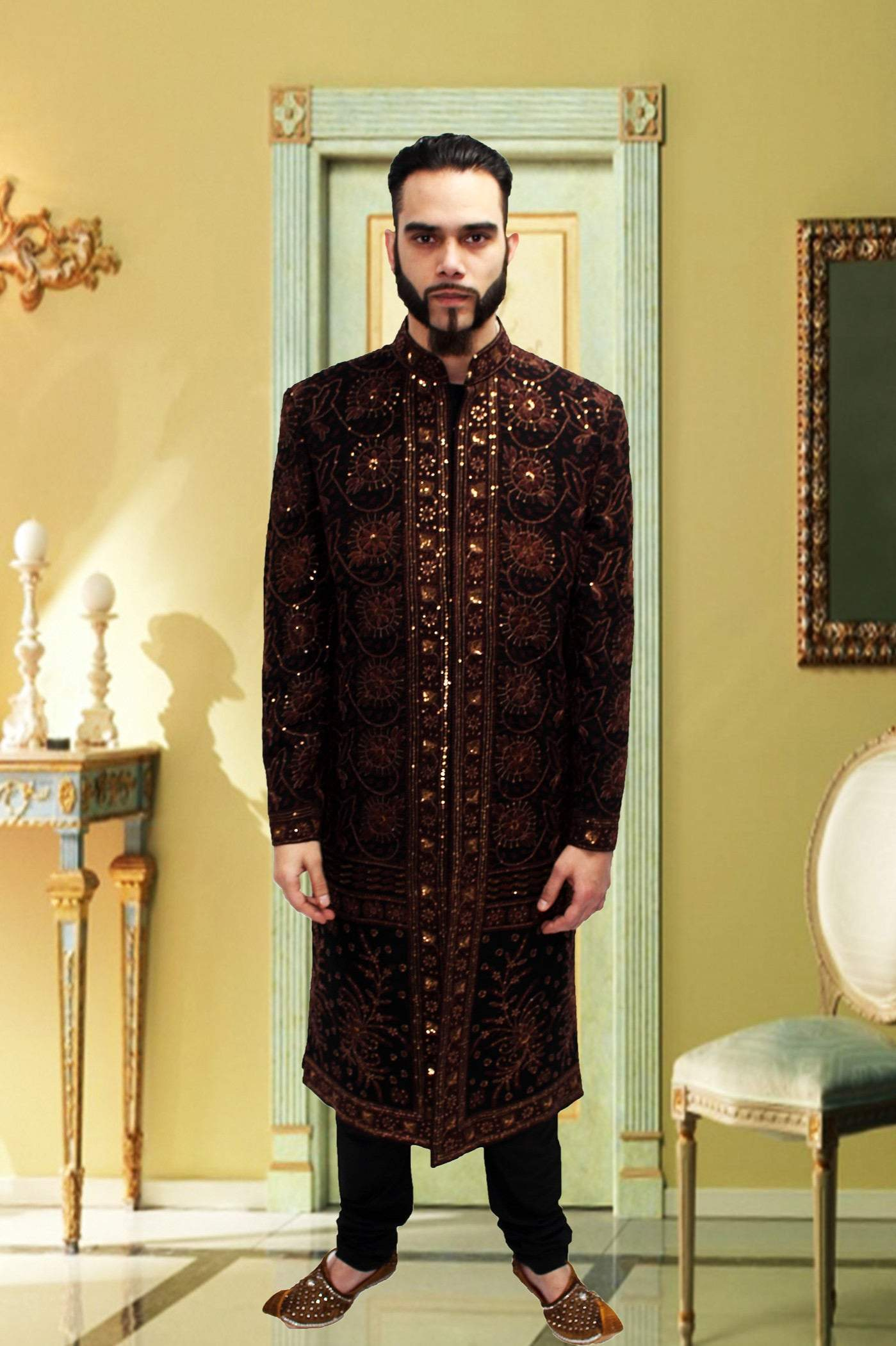 Black Sherwani With Rich Gold And Brown Embroidery