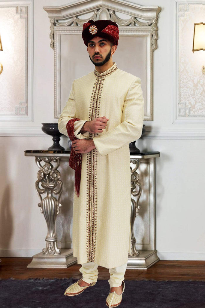 Off White Diamond Printed Pakistani Sherwani