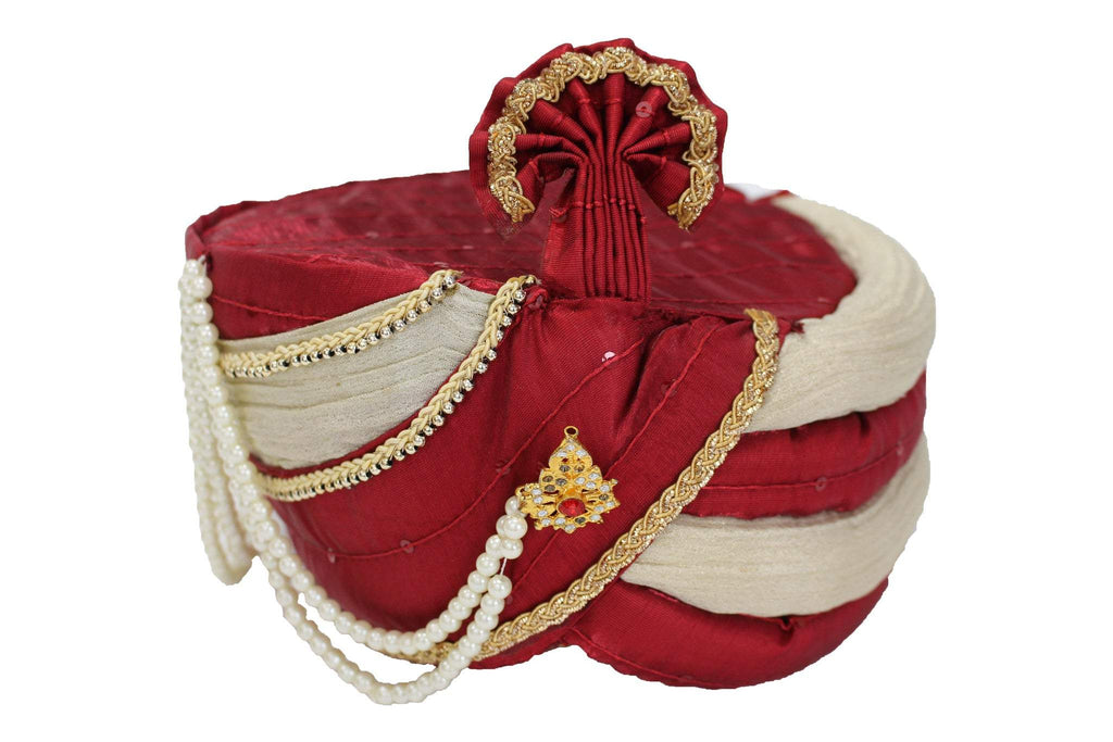 Red and White Pagdi Kulla Turban Safa Hat