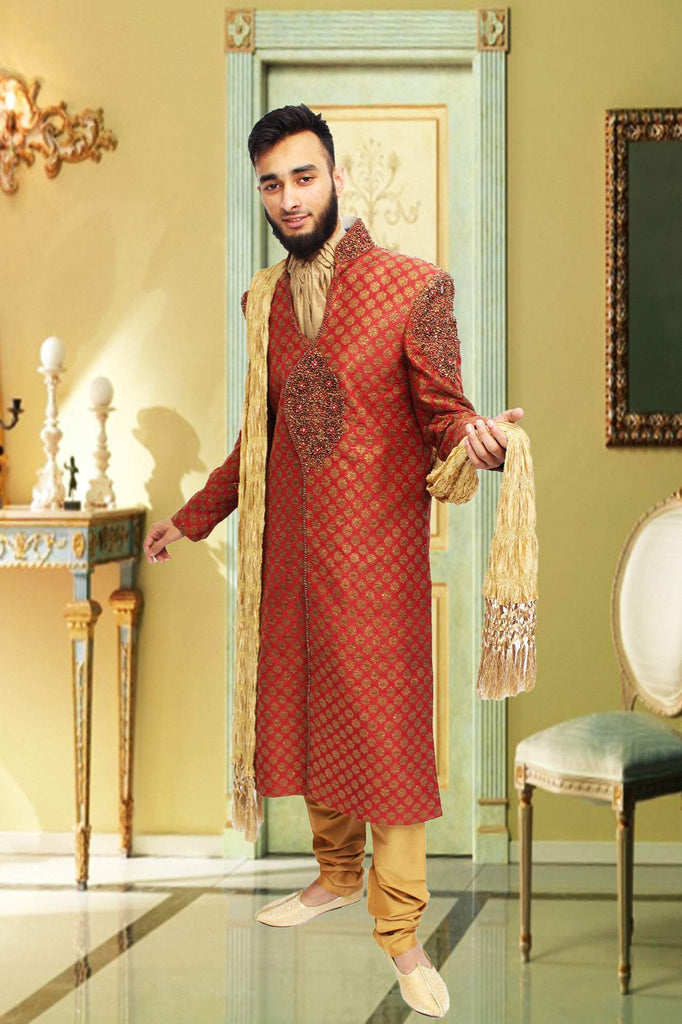 Maroon Brocade Sherwani with Gold Cravat