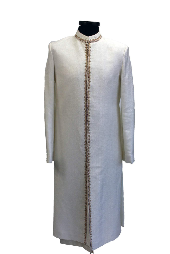 Tirumala- Off White Silk Sherwani with Gold Embroidery - Sherwani King - - 1