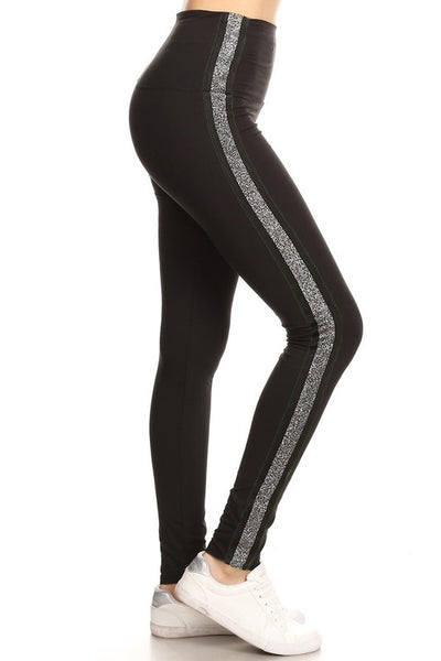 silver stripe black buttery Soft Microfiber High Waist Fashion Patterned Celebrity Leggings for Women plus size