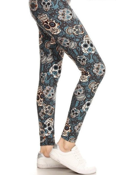 grey sugar skull halloween day of the dead buttery Soft Microfiber High Waist Fashion Patterned Celebrity Leggings for Women plus size