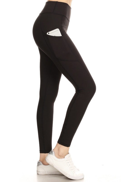 Black Solid Sports Leggings with Pockets