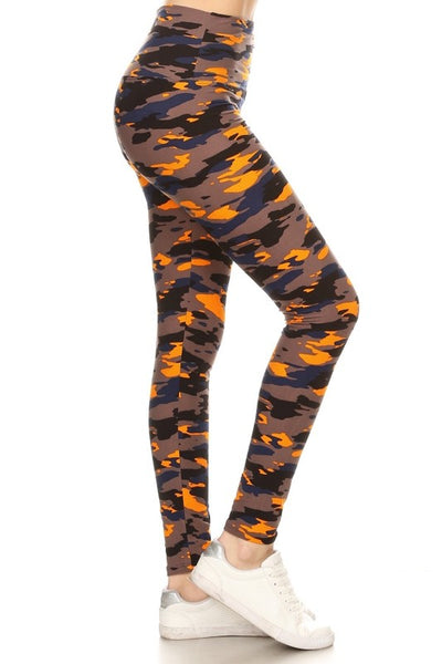 Yoga Waist Orange/Navy Army Print Leggings