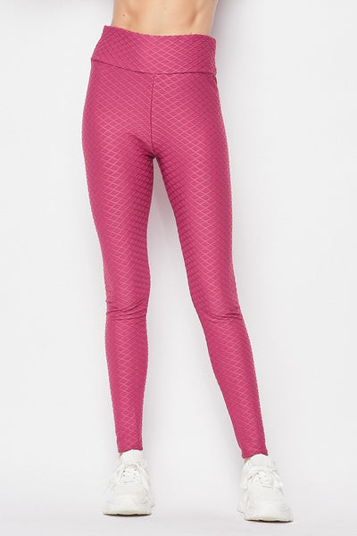 Textured Active Yoga Waist Leggings with a Scrunchy Back Detail