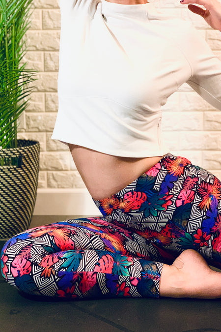 Fluorescent Rose Print Leggings