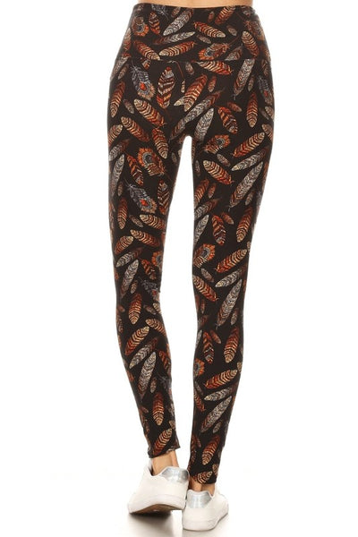 Feather Print (Regular Waist) QUEEN SIZE Leggings