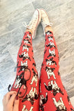 Coral Boston Terrier French Bulldog Print Leggings