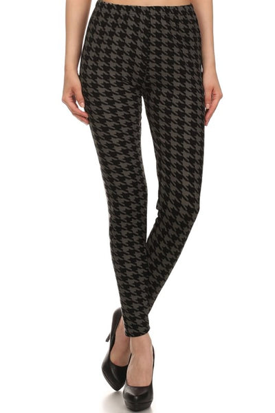 grey houndstooth buttery Soft Microfiber High Waist Fashion Patterned Celebrity Leggings for Women one size