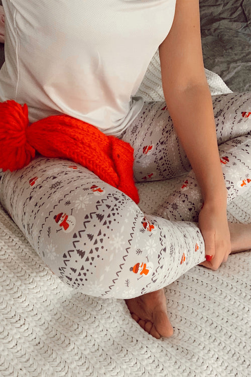 Yoga Waist Snowman Print Leggings