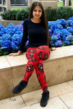 red peacock  buttery Soft Microfiber High Waist Fashion Patterned Celebrity Leggings for Women  one size