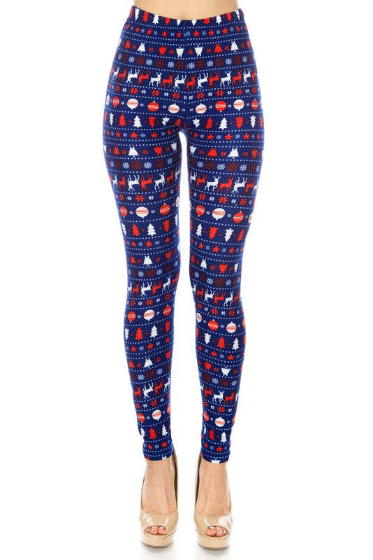 Blue/Red Reindeer Christmas Print Leggings
