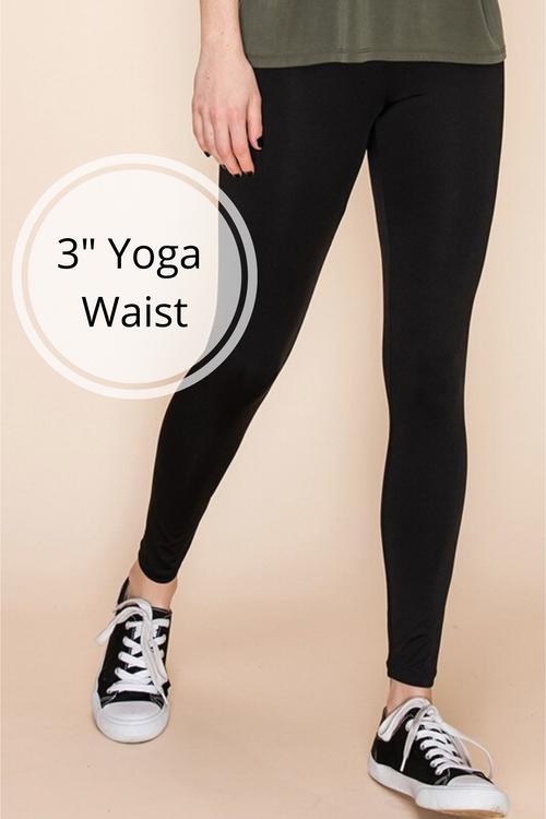 "Solid Color 3"" Yoga Waist Basic Leggings"