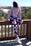 Pink/Blue Floral Print QUEEN SIZE Leggings