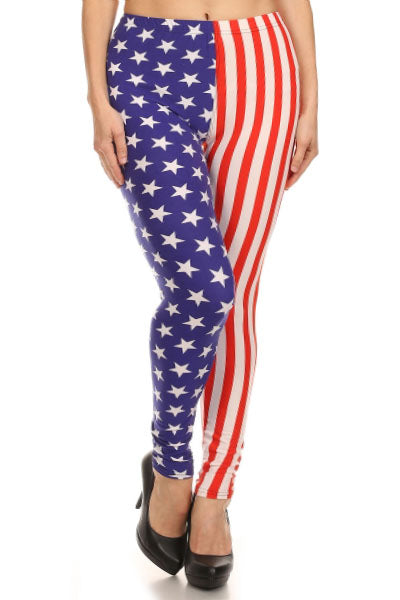 american flaf  buttery Soft Microfiber High Waist Fashion Patterned Celebrity Leggings for Women plus size