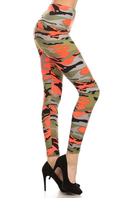 Orange/Green Army Print Leggings
