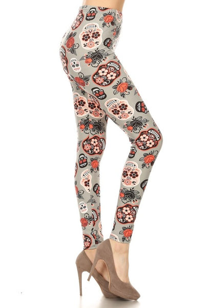 orange grey sugar skull halloween day of the dead buttery Soft Microfiber High Waist Fashion Patterned Celebrity Leggings for Women plus size