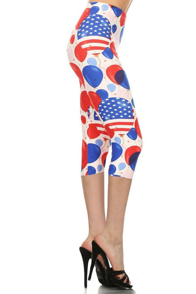 American Flag Capri Leggings