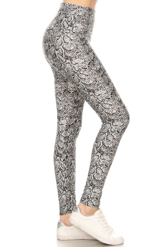 Yoga Waist black/Grey Snake Print Print Leggings
