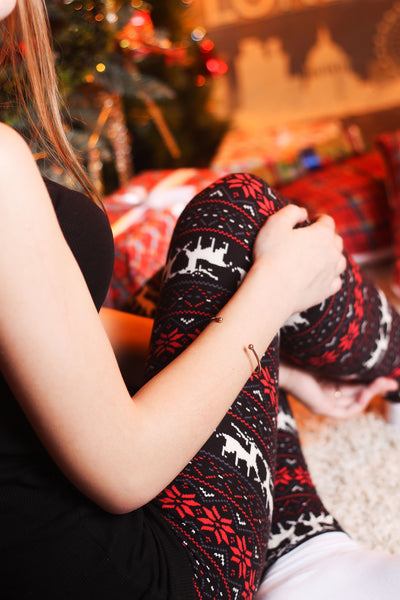 Black/Red Reindeer Christmas Print Leggings