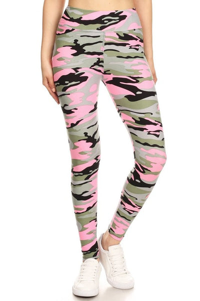 Yoga Waist Pink Army Print Leggings