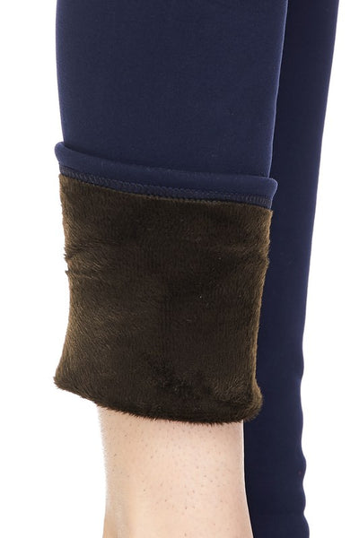 Solid Color FUR Lined Winter QUEEN SIZE Leggings