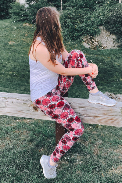 Yoga Waist Grapefruit Print Leggings