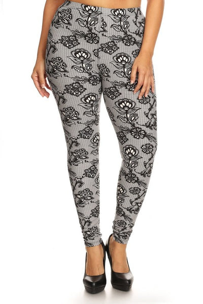 Lace Print Queen Size Leggings