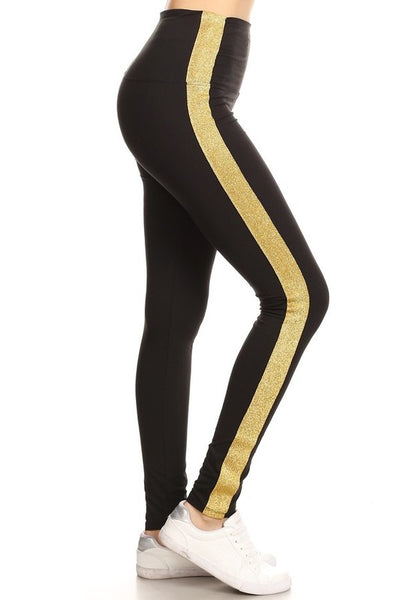 golden stripe black buttery Soft Microfiber High Waist Fashion Patterned Celebrity Leggings for Women plus size