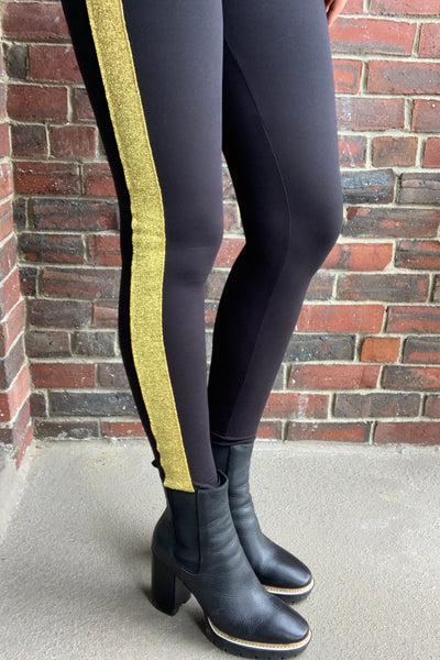 Gold/Silver Stripe Black Yoga Waist QUEEN SIZE Leggings