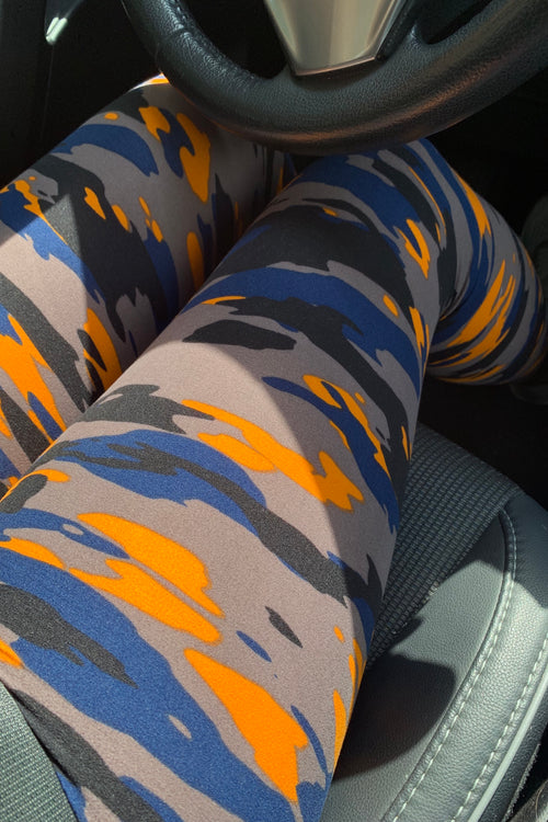orange navy army yoga waist buttery Soft Microfiber High Waist Fashion Patterned Celebrity Leggings for Women one size