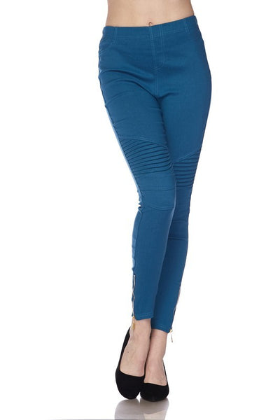Stretch Motto Pants with Zipper Detail