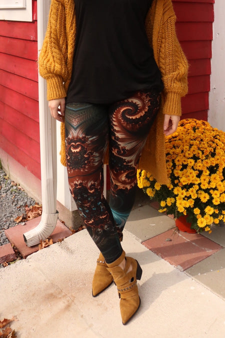 Olive/Burgundy Lace Print Leggings